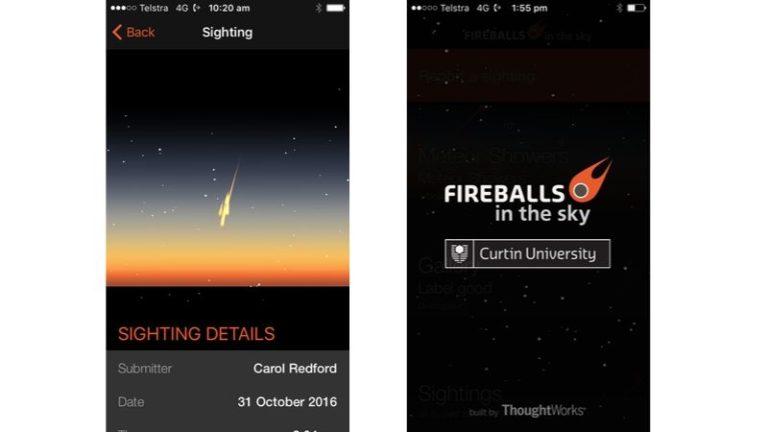 Fireballs in the Sky app screen recording of the Dingle Dell meteorite