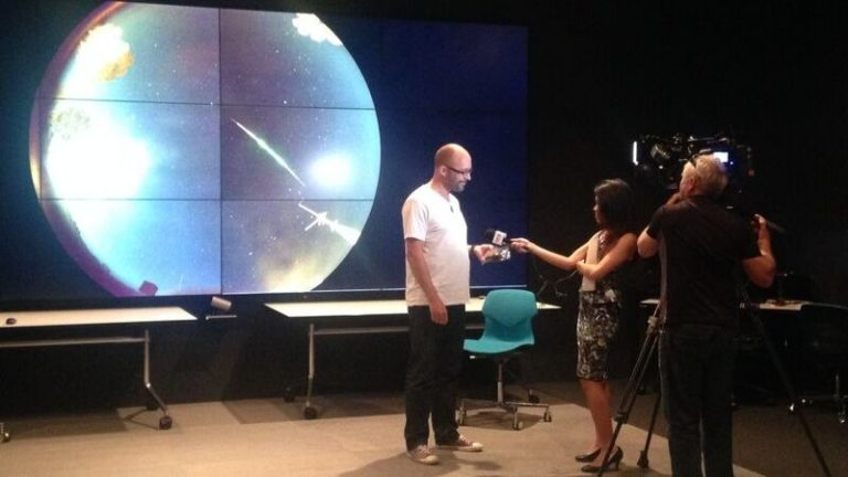 Professor Phil Bland being interviewed about the recovery of the Dingle Dell meteorite