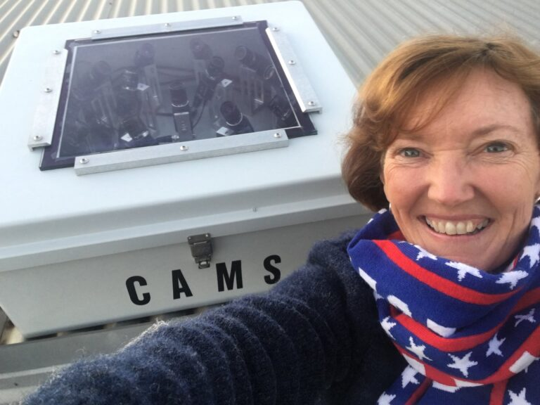 Carol Redford in front of CAMS